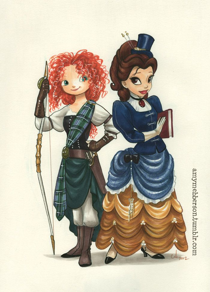 steampunk merida and belle by amy mebberson halloween