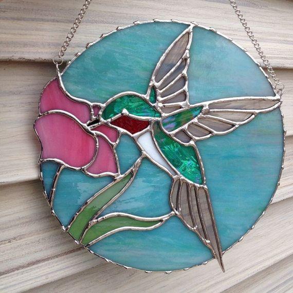 Round Ruby Throated Hummingbird Stained Glass Suncatcher