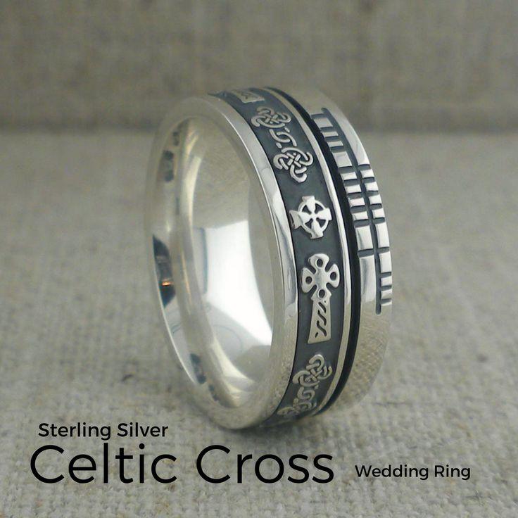 Faith Collection Celtic Cross Wedding Rings With Ogham Script Rail Handmade In Ireland By Boru