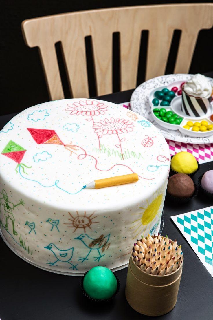 Sokerimuruja : Tee se itse! Väritä ja koristele juhlapöytäsi kakku! DOODLE CAKE!   DIY - party cake.