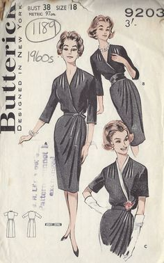 Simple classic wrap dress black LBD dinner cocktail day office 1960s Vintage Sewing Pattern B38 DRESS (1189)