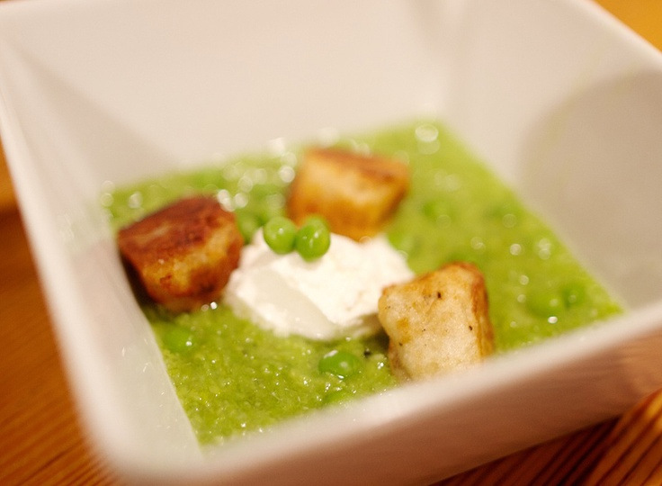 ... Supper, with recipe for seared gnocchi with pea puree and goat cheese