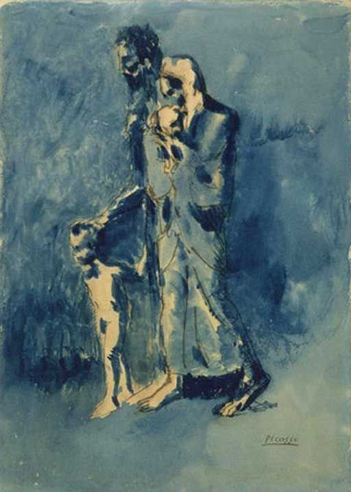 truth in picassos the old guitarist essay Pablo picasso created the old guitarist during his blue period  notice that the  old man almost seems like he's standing up but, in fact, he is in.