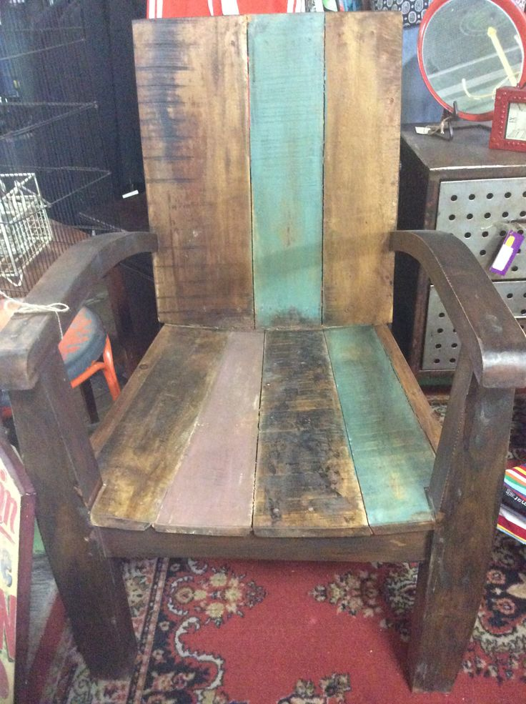 This is a heavy large chair made from old hardwood recycled, would look great on the front porch. #revamped #upcycled #industrial #itsmeagain