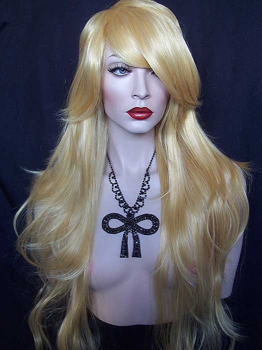 "long blond mix (#144-613) straight cosplay girl hair wig. 30"" long."