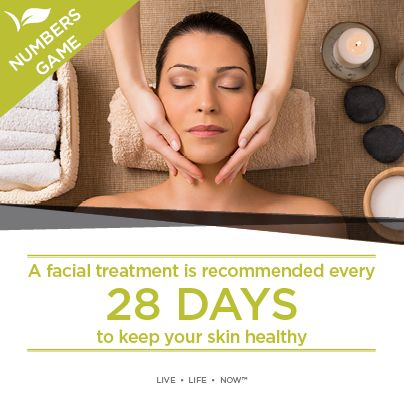 A facial treatment is recommended every 28 days to keep skin healthy.