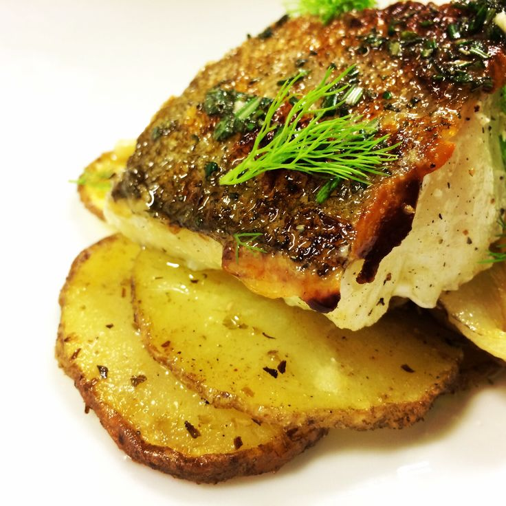 Pan seard cod with Roasted potatoes and fennel fronds