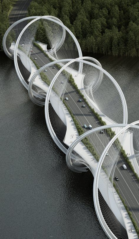 The #SanShanBridge by #Penda spans across the Gui River and will be part of the infrastructure program for the Olympic Winter Games 2022 in ‪#‎Beijing‬. The design took inspiration from the five interlaced olympic rings