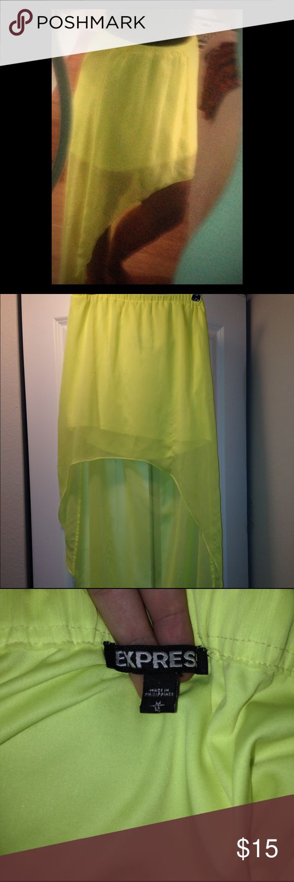 Express HI-Low  Neon Yellow Asymmetrical Skirt Express Hi-Low asymmetrical skirt. Size medium. Elastic waistband. Very good condition. Express Skirts Asymmetrical