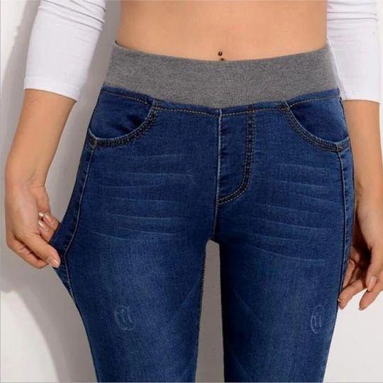 2018 Jeans For Women Plus Size 26-40 Casual Pants High Waist Jeans Elastic Waist Pencil Pants Fashion Denim Trousers