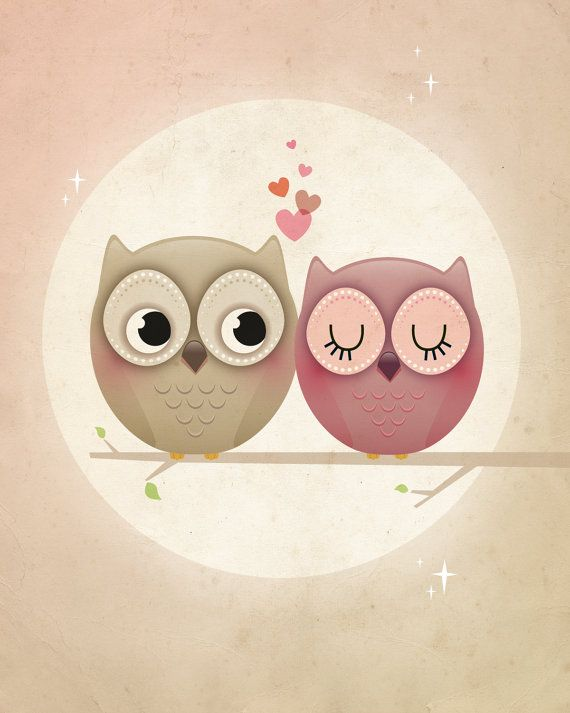 Owl art print, valentine print, owl illustration, valentine gift, nursery print, kids room decor, engagement gift, wedding gift, love print.