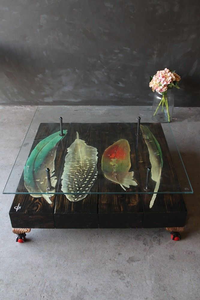 Bird Feather Coffee Table - Bring a splash of colour to any dark interior.