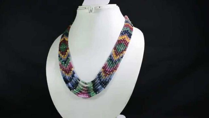 7 Strands Natural Ruby Emerald Sapphire 356ct Multi Row Gemstone Beads N...
