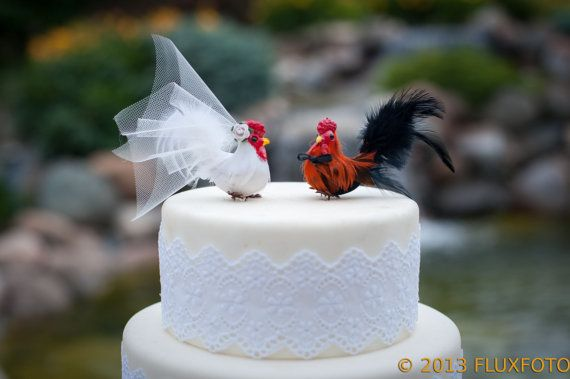 Barnyard Chickens Love Bird Cake Topper Farm Wedding Bride And Groom Hen And Rooster Wedding Cake Topper And Christmas Ornament Pinterest