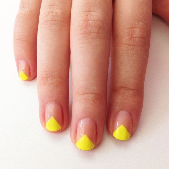 V-shape manicure with neon