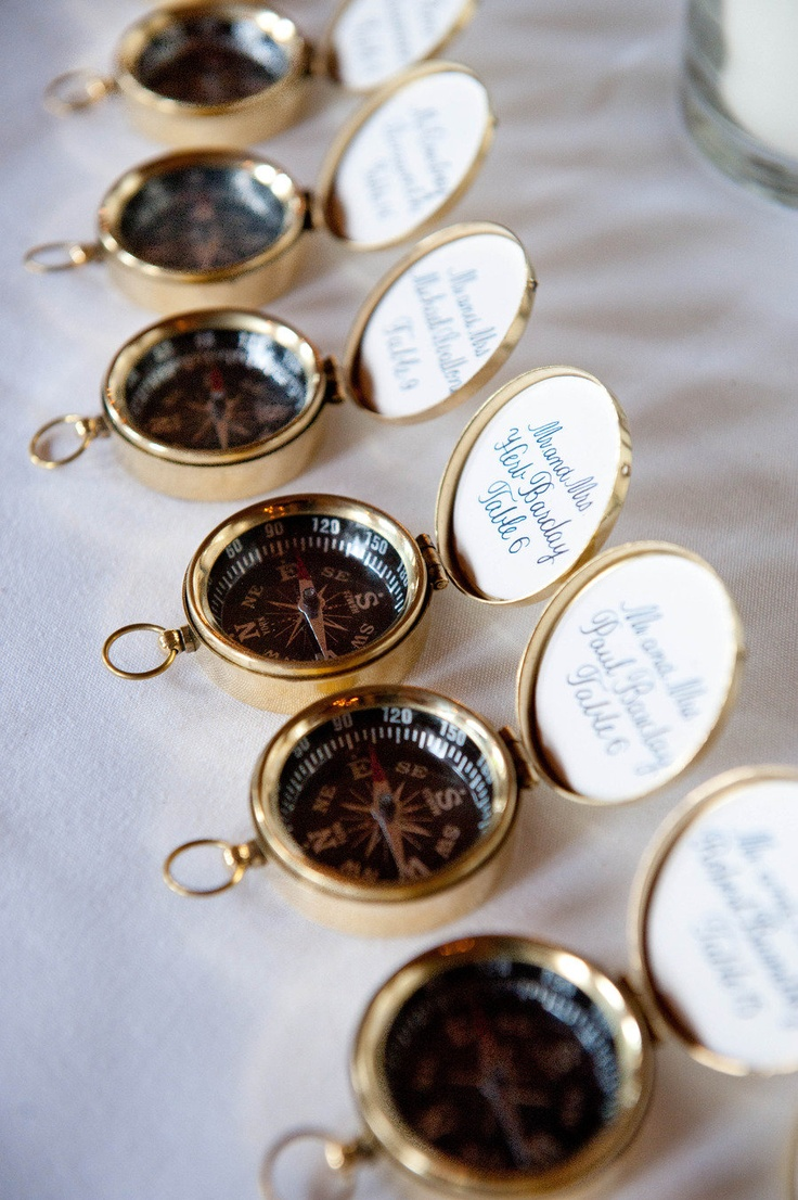 Compasses for table cards - wouldn't this be fun for a Steampunk wedding?