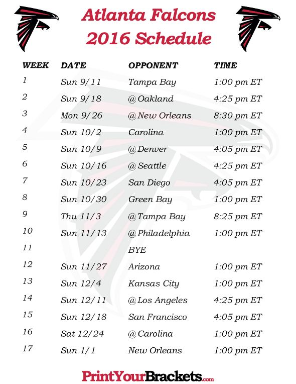 Printable Atlanta Falcons Schedule - 2016 Football Season