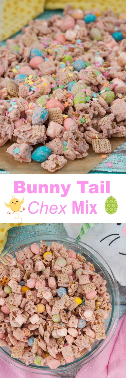 "Easter Bunny Tail Chex Mix recipe, or ""Easter Crack"", is the cutest Easter or spring treat and so quick and easy that kids can help make it!"