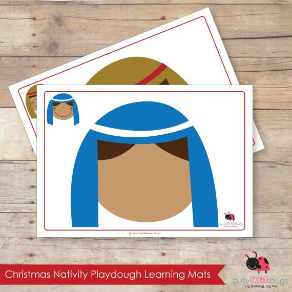 Nativity Playdough Mats, set of 11 printable playdough learning mats by Busy Little Bugs.
