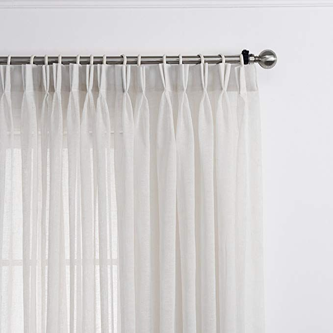 Amazon Com Lantime White Semi Sheer Curtains Faux Linen Double
