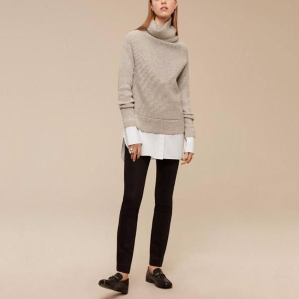 side cut turtleneck pullover sweater