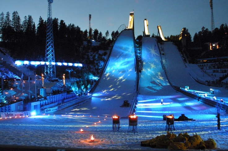 Lahti /Finland: ski jump in winter, swim in summer