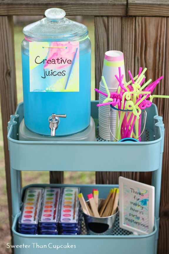 Neon Watercolor Birthday Party Favors Creative Juice Art Paint