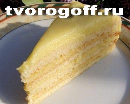 Торт, творожный заваренный крем, многослойный