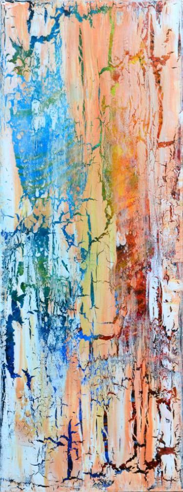 "Saatchi Art Artist Jakub DK; Painting, ""Cracked Calf - Abstract Home Decor Art On The Long Deep Edge Canvas Ready To Hang"" #art"
