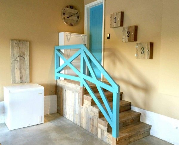Garage Stairs Makeover With Pallets Pallet Stairs                                                                                                                                                     More