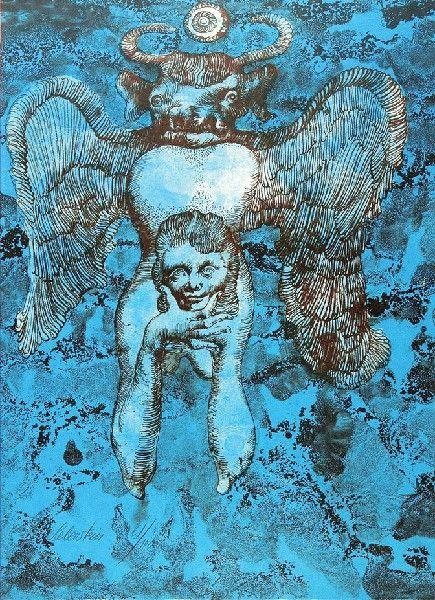 Jan LEBENSTEIN (1930 - 1999) Akt niebieski litografia barwna, papier, 42,5 x 31,5 cm; (odbitka); sygn. l. d.: Lebenstein 61/100 (ołówkiem)