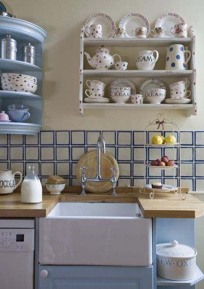 Blue and white tiles in a country style kitchen Tiles, Belfast sink, wood, worktops, Emma Bridgewater, Shelving, Cake stand