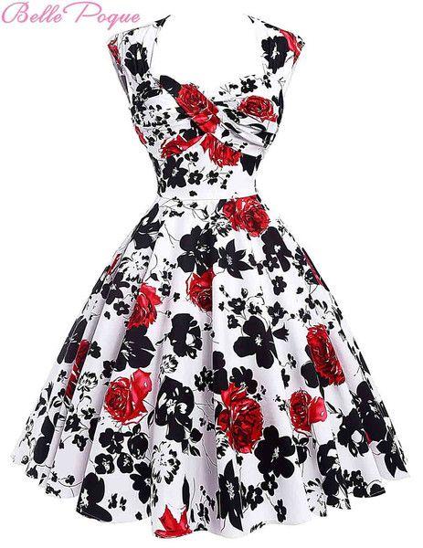 Audrey Hepburn Vestidos Cotton Floral Print Vintage 50s Dresses Women Robe Rockabilly Pin Up Dress BP000024 Alternative Measures - Brides & Bridesmaids - Wedding, Bridal, Prom, Formal Gown