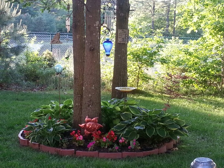 Flower bed around tree cluster landscaping for Small trees for flower beds