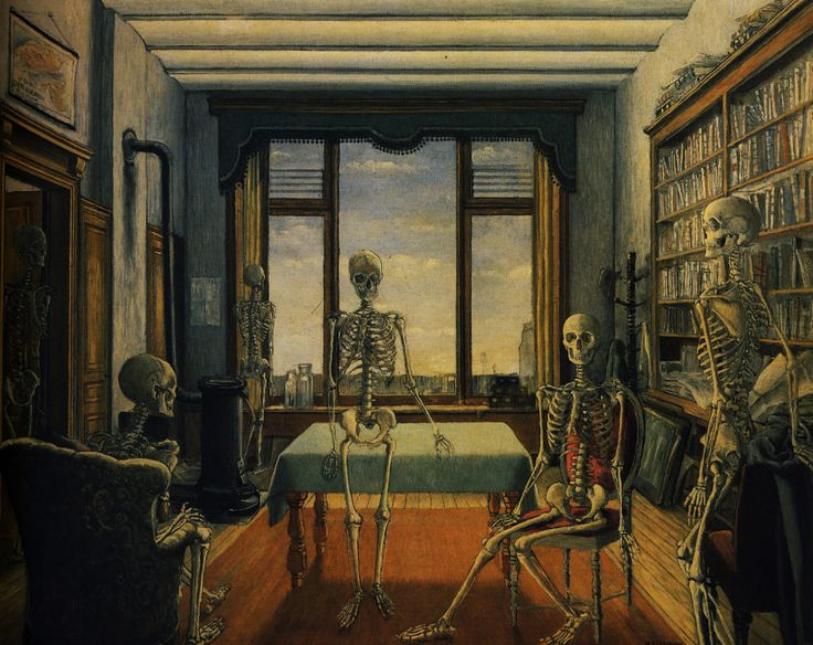Paul Delvaux. http://uploads1.wikipaintings.org/images/paul-delvaux/skeletons-in-an-office-1944.jpg