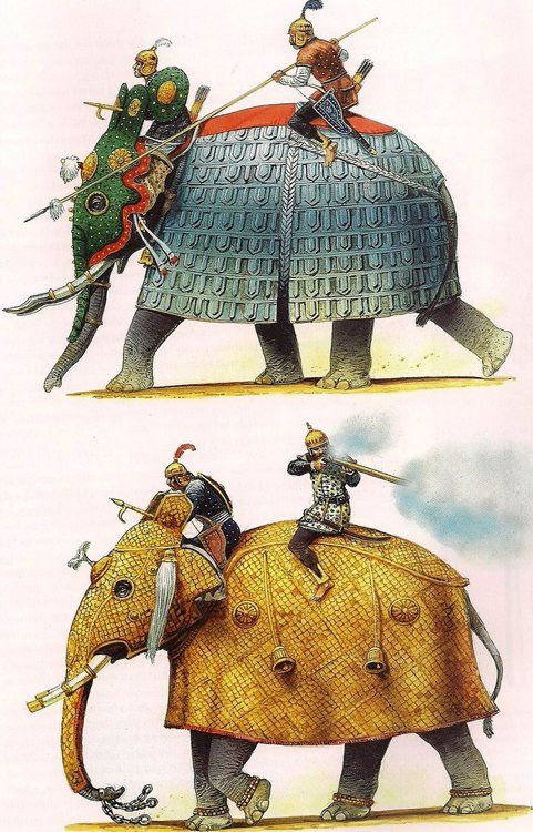 "Mughal armoured elephants Peter Dennis illustrations for Osprey book ""War Elephants"""