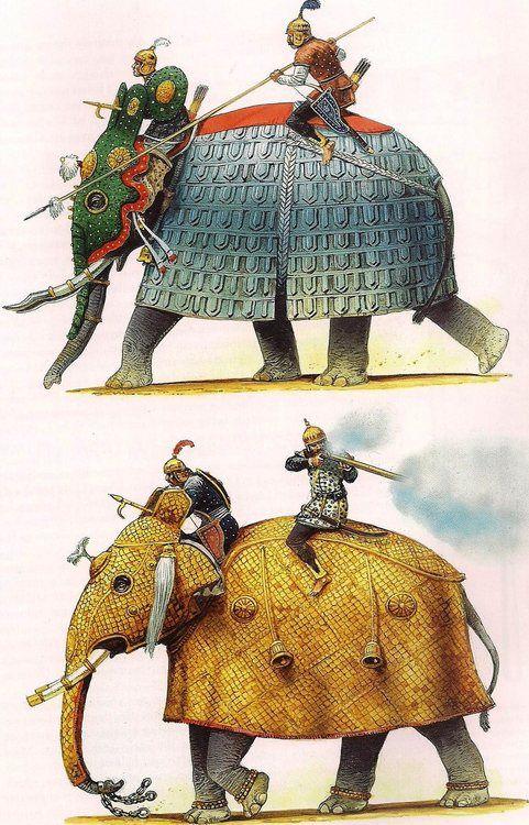 "Mughal armoured elephants Peter Dennis illustrations for Osprey book ""War Elephants"""