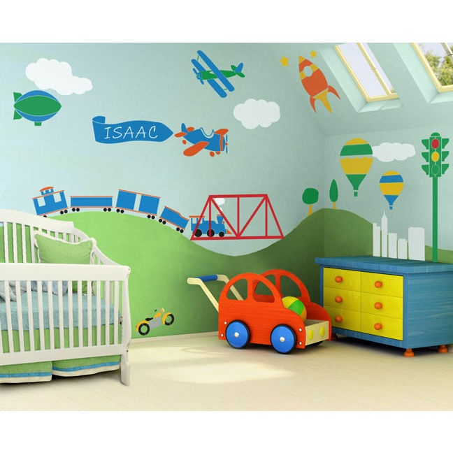 Kids / Nursery Wall Mural Self Adhesive Stencil Kit   Boys Room  Transportation Theme   Trains, Airplanes, Cars And More.