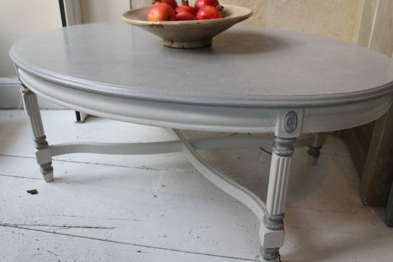Oval coffee table hand-painted in Annie Sloan by MarmaladeHouse