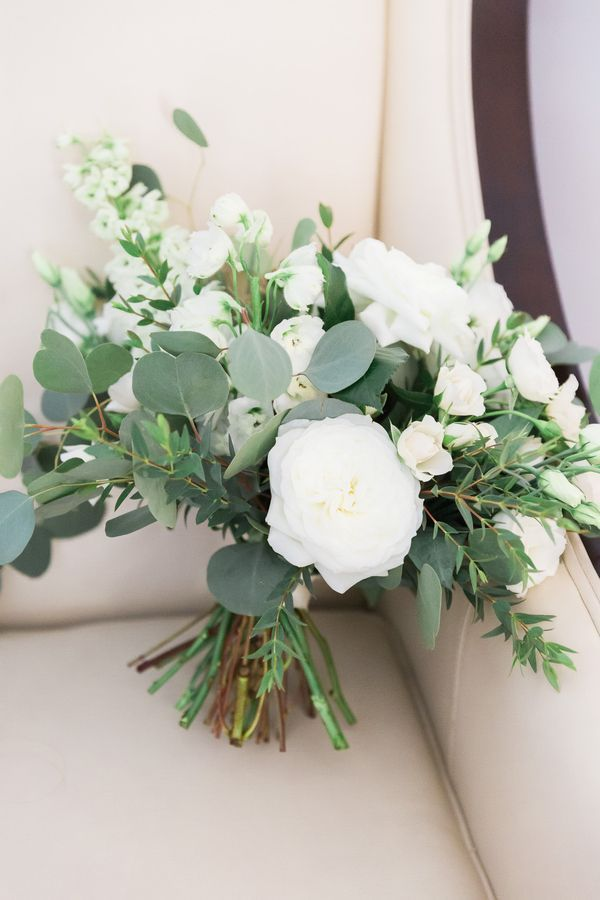 botanical marriage ceremony, backyard marriage ceremony floral bouquet | white roses and eucalyptus fo…