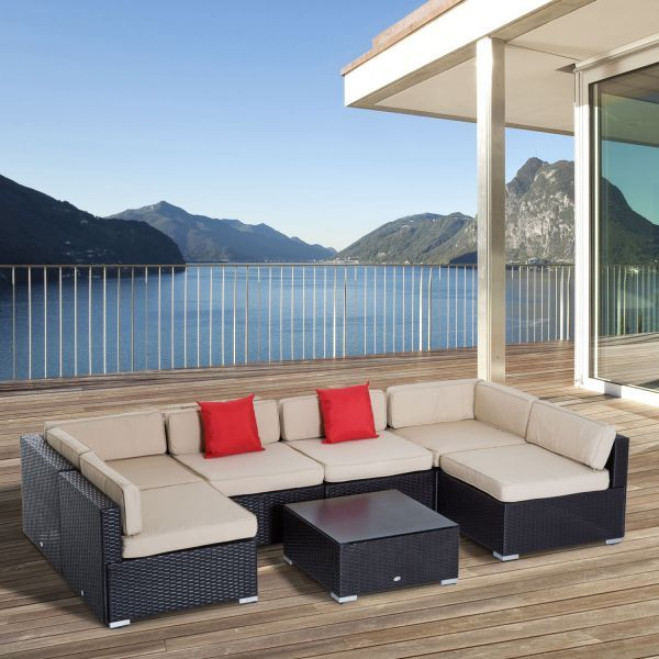 Outdoor Patio Rattan Wicker Sofa