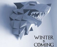 Game of Thrones - House Stark of Winterfell Wall Hanging Free Papercraft Download - http://www.papercraftsquare.com/game-of-thrones-house-stark-of-winterfell-wall-hanging-free-papercraft-download.html#GameOfThrones, #HouseStarkOfWinterfell, #WallHanging