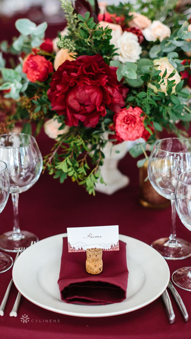 Romantic Burgundy Red Wedding Place Setting With Pocket Napkin Fold Napkin Fold With Napkins Wedding Table Fall Wedding Tables Burgundy Wedding Centerpieces