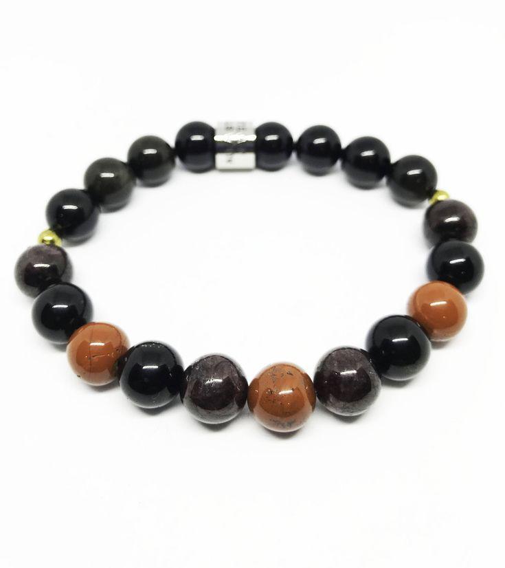 The Protection and Grounding Jasper, Garnet and Black Agate Bracelet