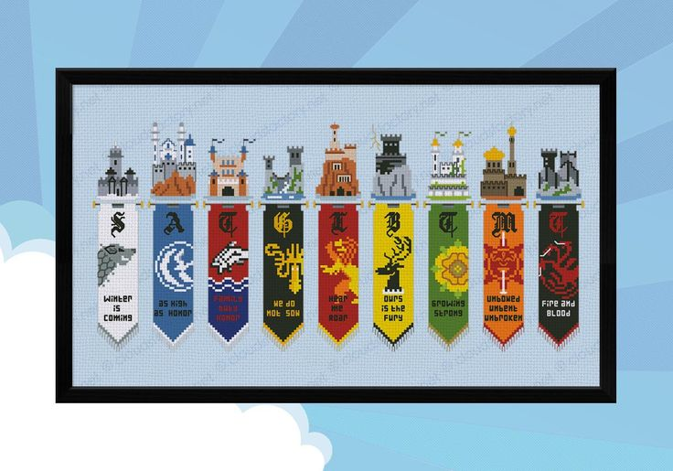 Crazy for Game of Thrones? Are you a Stark, a Targaryen or maybe a Lannister? This cross stitch pattern features all the Houses banners and their respective castles and motto. An absolute must have! \r\n\r\n This listings is for a virtual pattern that y