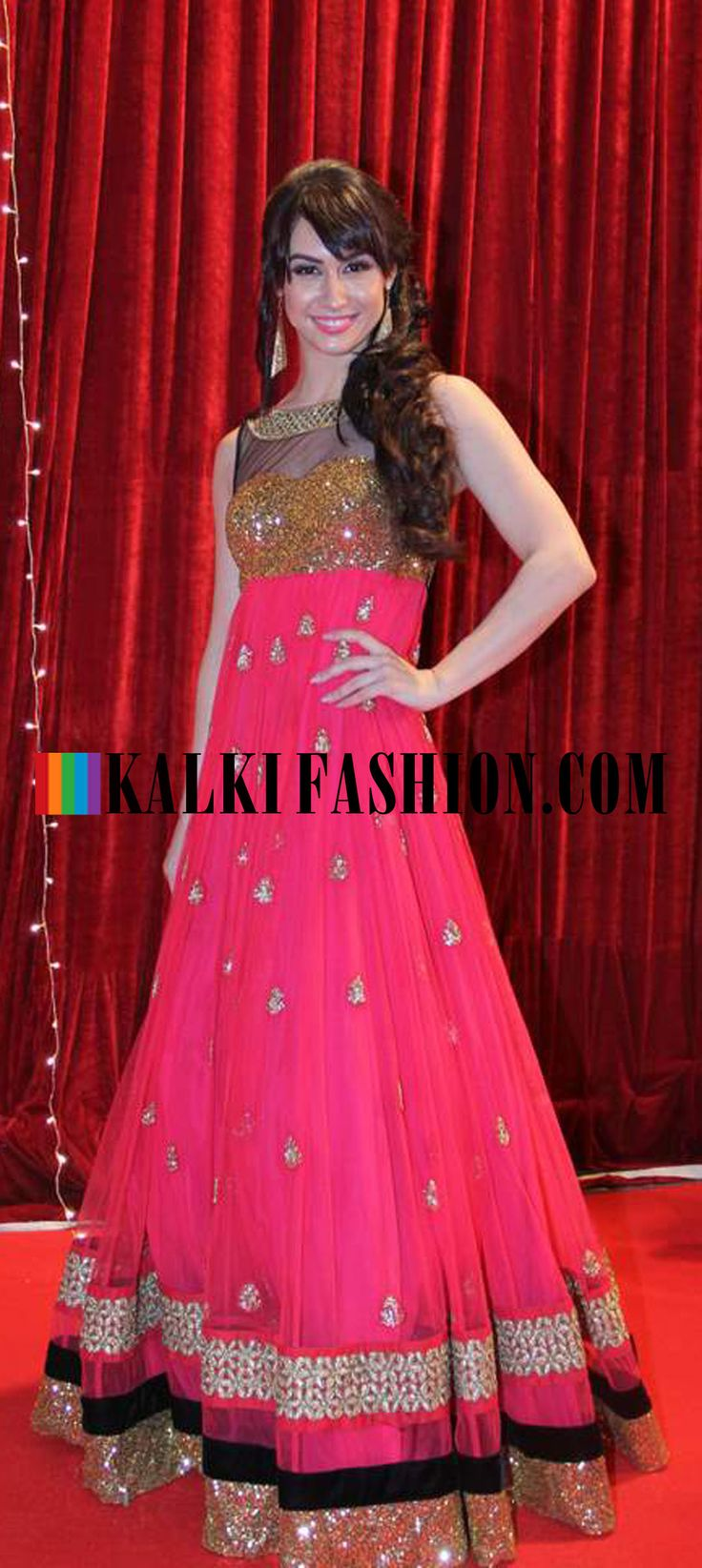 http://www.kalkifashion.com/   Lauren Gottileb in a floor length pink anarkali gown  at Indian Telivision Awards 2013