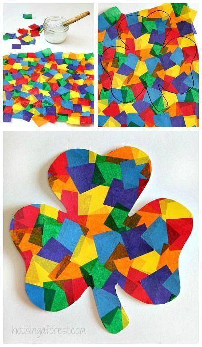 Rainbow Shamrock Craft ~ Easy toddler St Patricks Day Craft