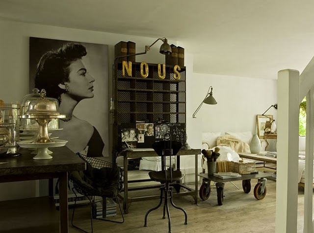French Industrial Chic interior. Wonderful beyond words.