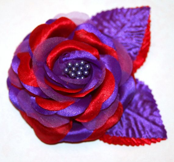 Red Hat Society Purple Red Satin Rose Pin Brooch or by tweeterj, $8.00