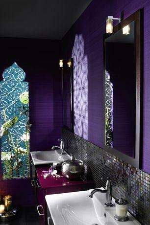 Mediterranean Master Bathroom with Master bathroom, High ceiling, Undermount Sink, slate tile floors, Stone Tile, Double sink